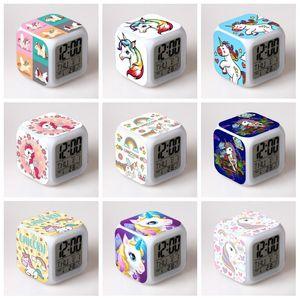 다채로운 유니콘 시계 색상 변경 알람 시계 LED 사각 시계 남성 여성 선물 홈 장식 패션 스타일 (11) 5yy H1