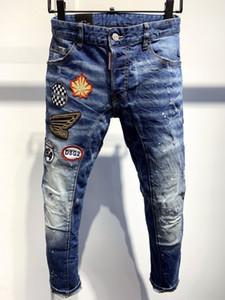 nouveaux hommes D2 jeans hommes jeans concepteur de luxe 000 maigres gars frais Ripped trou causal marque de mode denim noir jeans d'ajustement hommes Lavé