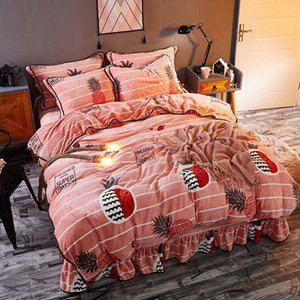Sl1905022 Most Popular Flannel Bedding Set Winter Warm Velvet Duvet Cover Set Velvet Home Textile Bed linen 4pcs set
