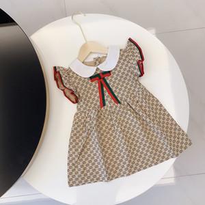 2020 qualidade superior Bebés Meninas designer de vestido xadrez vestido Coração Imprimir Roupa Fly da criança da luva Crianças Dress For Girl Clothes Vestidos