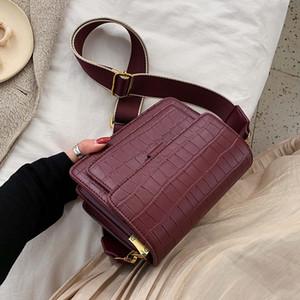 Padrão de pedra pequena Bandoleira Sacos para Mulheres 2019 Solid Color Ombro Simples Messenger Bag Lady viagem Bolsas
