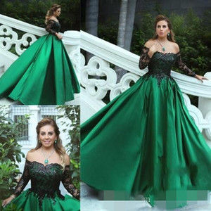 Vintage Green Prom Dresses Off the Shoulder Black Satin Long Sleeves Floor Length Formal Evening Ball Gown Graduation Party Wear Custom Made