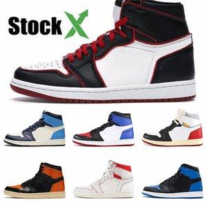 Plus récent venant Cdg X 1 Collab Boucle sangles Tirez Bague Hommes Femmes Chaussures de basket-1S Jumpman Des Garcons Sport Sneakers # QA181