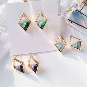 Контрастные ромбы контрастного цвета серьги женские модные женские геометрические серьги-гвоздики