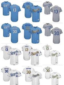 Sipariş üzerine Erkekler kadınlar gençlik KC Royals Jersey # 30 Yordano Ventura 13 Salvador Perez Ana Mavi Beyaz Gri Beyzbol Formalar