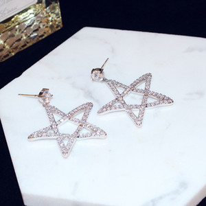 Creative design ladies high quality fashion sexy high-end earrings exquisite luxury zircon star earrings trend wild accessories holiday gift