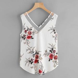 Летняя блузка Дизайнер Tops хорошее качество Женщины шифон рубашки Цветочные V шеи Повседневный рукавов Блуза 2019 Summer Tops моды D10