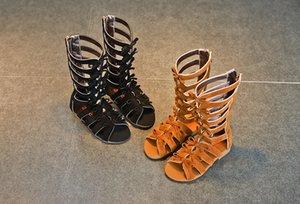 2019 Niñas romanas sandalias botas matorral de cuero verano marrón negro high-top moda niño sandalias zapatos de niño