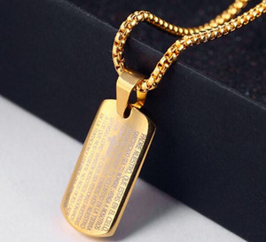 Dog Tag Praying Hands Pendentifs Colliers avec bible d'or / plaqué or rose en acier inoxydable chanceux cadeau Bijoux Hommes / Femmes WL935
