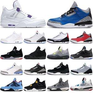 nike air jordan retro 4 4s siyah kedi jumpman 3 3s erkek basketbol ayakkabıları Mahkeme Mor Bred Cactus Jack Çam Yeşil Sadık Mavi erkekler kadınlar atletik spor sneaker