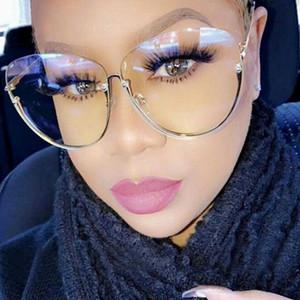 Gafas de sol claras Mujeres Semi Marco sin rebordes 2019 de gran tamaño oval de la vendimia Gafas de sol Gafas de metal Sombras