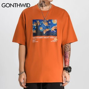 GONTHWID Funny Van Gogh Starry Night Cats Print Streetwear Tshirts Hip Hop Hipster Casual Short Sleeve Tees Men Fashion Tops MX200508