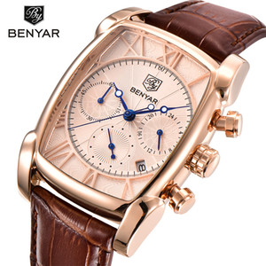 BENYAR verdadeiro luxo de seis pinos da Case Chronograph Men Sports Quartz clássico relógio retângulo Relógios Rosa de Ouro erkek kol saati