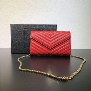 Top Quality Womens Luxury Portafoglio Borsa Pochette Doppia Zip frizioni in vera pelle in vera pelle Borse a tracolla Mini borse catena Design del marchio WOC