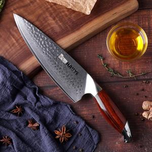 Japón cuchillos de cocina de acero VG10 Damasco de 8 pulgadas cuchillo cocinero Artesanía Martillo con palo de rosa de la manija de la individualidad Maestro de cocina