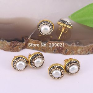 10pair Gold Color Pave Rhinestone Shell Stud Earrings For Jewelry Finding CX200706