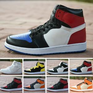 Nike Air Jordan 1 4 6 11 12 13 Retro NOVOS sapatos de grife 1 OG Tênis De Basquete Mens Chicago 1S 6 anéis Sapatilhas Bred Toe Formadores MULHERES MID Novo Amor UNC Calçados Esportivos tamanho 36-47