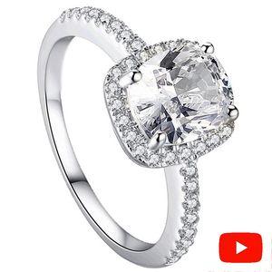 Pas Faux S925 Argent Sterling Sona Diamant 2 Carat Coussin Cut De Luxe Exquis Bague De Mariage De Fiançailles Simple 925 J190714
