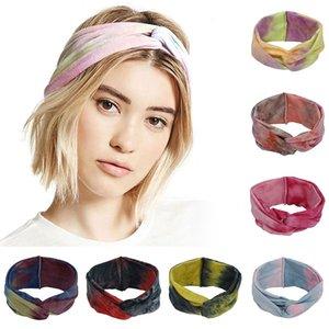 2020 Chouchous Twist Turban style bohème Tie Dye Bandeau Accessoires cheveux Croix Noeud Coton Bandeaux large Headwrap Hairband