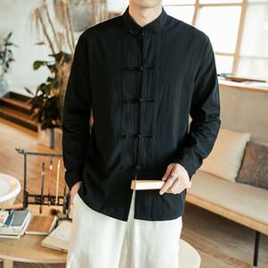 Sinicism tienda de manga larga Camisetas de hombre para hombre de la camisa de lino casual manera de la caída del estilo chino de alta calidad de hombre Clotihng