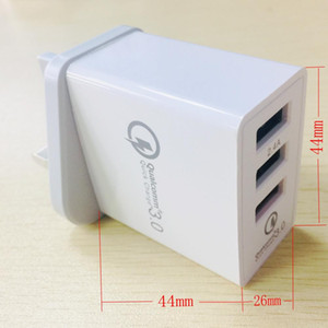 3 порты быстрое зарядное устройство QC для 3.0 30Вт USB зарядное устройство Великобритании подключите зарядное устройство QC3 у.0 для iPhone Samsung С8 Хуавей компании Xiaomi и LG