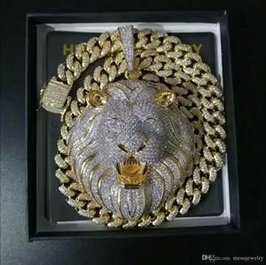 Mens Jóias Hip Hop para fora congelado Pendant de luxo Designer Colar Bling diamante cubana Chain Link Big pingentes Lion animal Rapper Acessórios