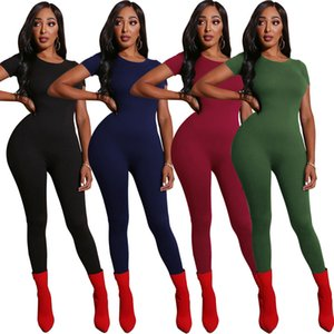 Autumn New Winter Women Jumpsuits O-Neck Short Sleeve Sexy Rompers Night Club Party Outfits Casual Solid Color One Piece 2510