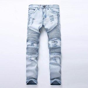 Avrupa ve Amerikan Balma Stil Erkek Klasik Jeans Erkek Retro Renk Moda Sokak Stili Lokomotif Jeans katlayın