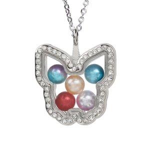 Verre magnétique papillon ouvert Médaillon Pendentif Perle Perle Cage mémoire vivante Charms flottant collier pendentif avec chaîne inoxydable