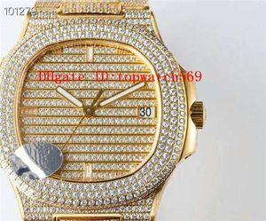 Top Extra-Fino Mens Diamond Watch NAUTILUS Mechanical 5719 Assista Relógio de pulso Swiss 324C Automatic 28800 vph Sapphire Ouro 18k 316L Aço