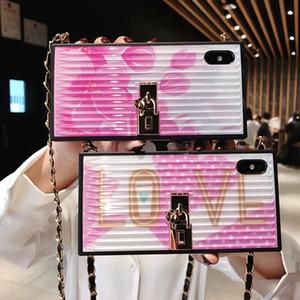 3d flor de silicone de volta case quadrado impresso carta amor cherry blossoms phone shell longo colhedor pulseira para iphone xs max xr 6 s 7