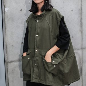 Fashion Tide New Autumn And Winter Fashion Women Clothes Sleeveless Loose VEST Coat Buttons Army Green Solider Clothes WJ31517