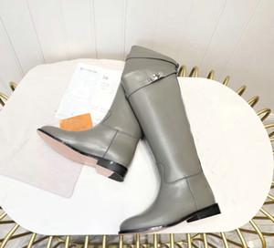 Sıcak Satış-ee Yüksek Düz Boots Siyah Gri Kahverengi Bayanlar Martin Boots Flats Topuklar Kadın Şövalye Boots 35-42