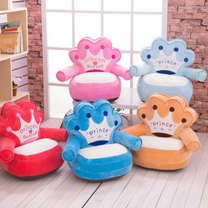 Baby Kids Only Cover NO Filling Cartoon Crown Seat Silla de los niños Neat Puff Skin Toddler Children Cover para Sofá Los mejores regalos