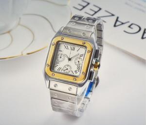 Vollfunktions Quadratisch Rechteck Herrenuhr Kalender Schöne Armbanduhr Quarz-Edelstahl-Bügel-Geschäft Sport Mann-Uhr-Geschenk