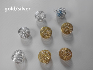Wholesale Pendants Plated For Diy Spring Necklace Spiral Cages 500Pcs Silver Gold Lantern Girl Bead Jewelry Making Accessories Sjvbe