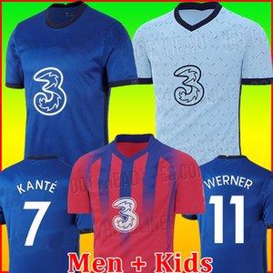 Chelsea CFC KANTE ABRAHAM MOUNT LAMPARD ODOI JORGINHO PULISIC camisa de futebol 2020 2021 GIROUD WILLAN camisa de futebol 20 21 homens + crianças kit quarta copa