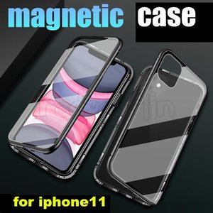 For iPhone XS Max X 11 pro Magnetic Adsorption Metal Clear Back Case Tempered Glass Hard Back Slim Phone Cover For iPhone 8 7 6s 6 plus