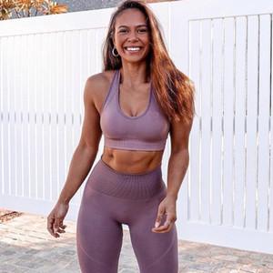 Бесшовные Йога наборы Gym 2 Piece Set Workout Одежда для женщин Фитнес Одежда Спортивная Спорт бюстгальтер и гетры Set Sports Wear FY9007