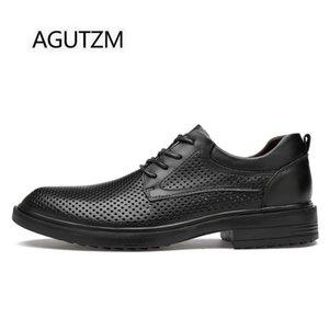 2020 AGUTZM 2100-2 Moda Dantel Yukarı Nefes Hollow Out Yumuşak İnek Deri Lastik Sole Erkek İş Günlük Ayakkabılar Boyutu: 36-48