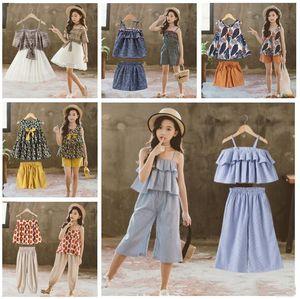 Bebek Kız Giyim Büyük Kızlar INS yazlık kıyafetler Çocuk Güzel model Dot şort etekler setleri giyim Çocuk Karikatür Giyim Seti D964 başında