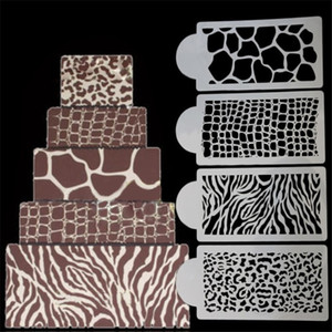 4шт / Set Zebra леопардового Wild Style Cake трафареты Аэрограф Картина Mold животные Печенье Fondant торт мусс декорирование