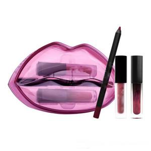 Hot Beauty Set of lip pencil+Mini Liquid lipstick+Mini lip Gloss Big mouth set 4 colors 3pcs set with Retail box