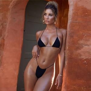Vendita calda Sexy Solid Bikini Halter Strips Fasciatura Costumi da bagno Swimwear Sling Micro Beachwear Bikini donna Top Biquini