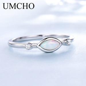 UMCHO White Fire Opal Bagues de femmes solides Argent 925 pierres précieuses romantique fiançailles Promise Ring Vintage Fine Jewelry Y200321