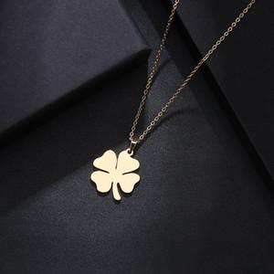DOTIFI Collar de acero inoxidable para mujer hombre trébol de oro y plata color colgante collar de compromiso joyería
