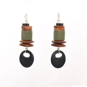 Creative Bucket Disc Combination Wood Earrings Black Hollow Disc Pendant Dangle Earrings for Women Exaggerated Trendy Jewelry Drop Shipping
