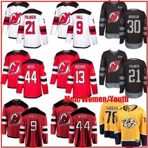 Personalizzato Nuovo Devils Jersey 13 Nico Hischier 30 Martin Brodeur 9 Taylor Hall 21 Kyle Palmieri Subban bandiera USA Hockey Uomini Donne maglie della gioventù