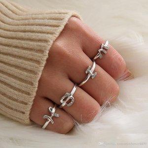 Manera de las mujeres 925 Personalidad plata esterlina 26 letras del alfabeto anillo de un m n h k y z anillo de diamante DIY Jewely