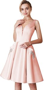 Sweety V-Neck Arabic Homecoming Dresses With Pocket Satin Beads African Knee Length Short Cocktail Gowns Graduation Party Gown